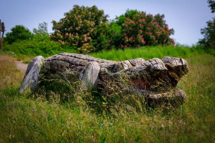 Holzkrokodil auf dem Spielplatz an der Kurmeile (Foto: templiner.de)