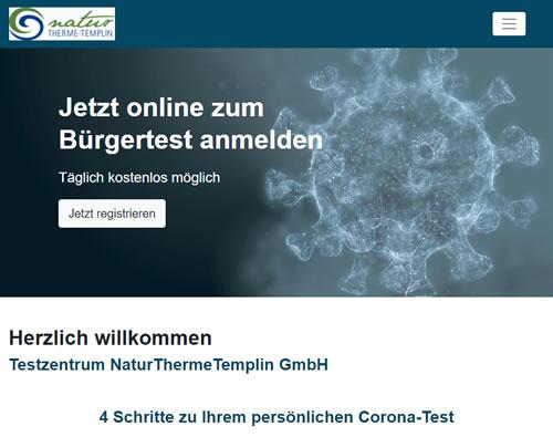 Website des Testzentrums an der NaturThermeTemplin